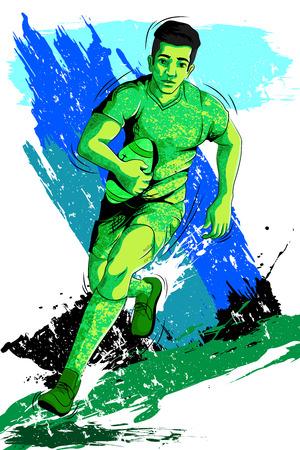 Concepto de Rugby deportista de juego. ilustración vectorial