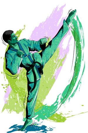 self training: Concept of sportsman doing Martial Arts. Vector illustration