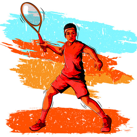 shuttlecock: Concept of sportsman playing Badminton. Vector illustration Illustration