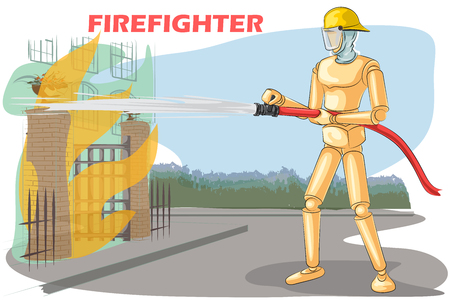 Wooden human mannequin Firefighter controlling fire with hosh pipe. Vector illustration