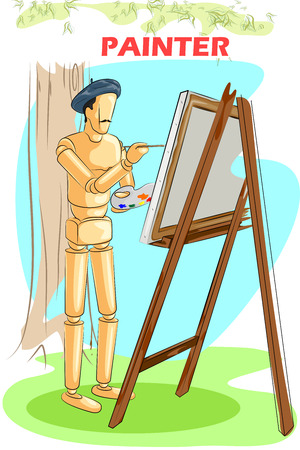artists dummy: Wooden human mannequin Painter artist painting on easel. Vector illustration