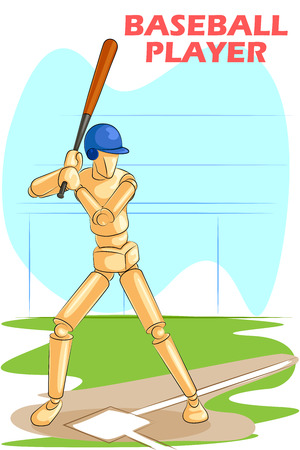hitting: Wooden human mannequin Baseball Player hitting with bat. Vector illustration