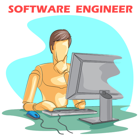 debugging: Wooden human mannequin Software Engineer working on computer. Vector illustration