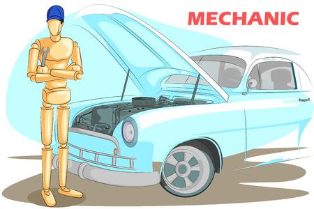 fixing: Wooden human mannequin Mechanic fixing car. Vector illustration