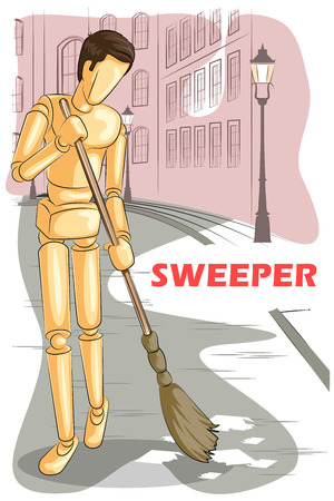 sweeper: Wooden human mannequin Sweeper cleaning road. Vector illustration