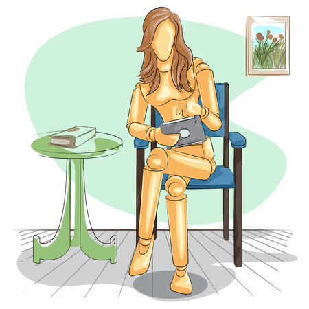 tablet vector: Wooden human mannequin Lady reading on tablet. Vector illustration