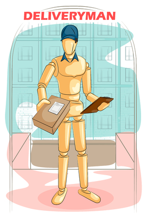deliveryman: Wooden human mannequin Deliveryman delivering parcel box. Vector illustration