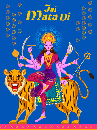 devi: Indian Goddess Sherawali Maa on Tiger. Vector illustration Illustration