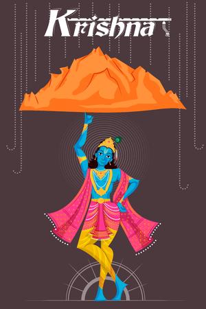 Indian God Krishna lifting mountain. Vector illustration