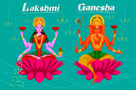 sacred trinity: Indian Goddess Lakshmi and Ganesha on Lotus. Vector illustration