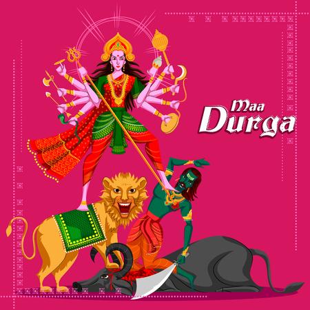 killing: Indian Goddess Durga killing Mahishasura. Vector illustration