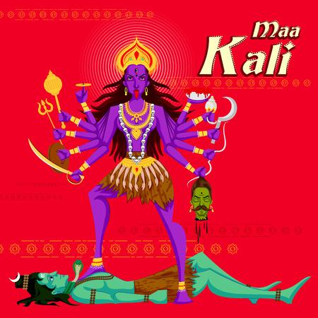 devi: Indian Goddess Kali with Shiva. Vector illustration
