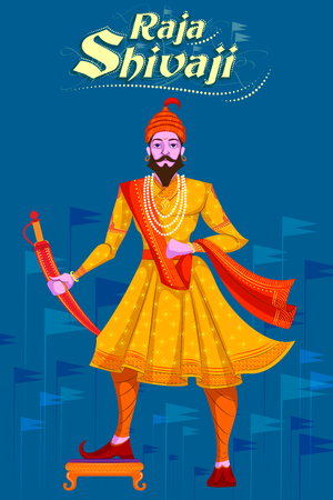 Indian Raja Shivaji with sword. Vector illustration
