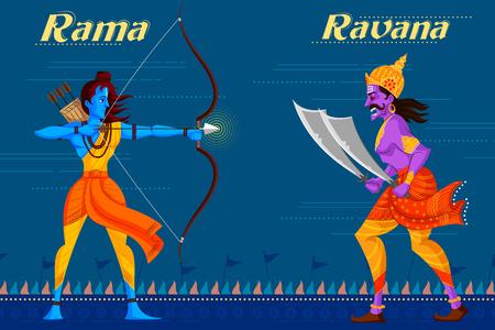 killing: Indian God Rama killing Ravana. Vector illustration