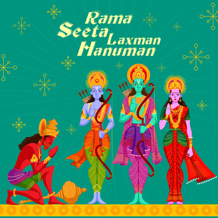 Indian God Rama Laxman and Sita with Hanuman. Vector illustration