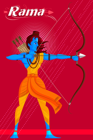 sacred trinity: Indian God Rama with bow and arrow. Vector illustration