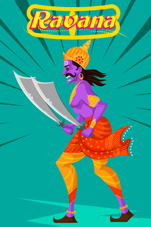 asian and indian ethnicities: Indian God Ravana with sword. Vector illustration