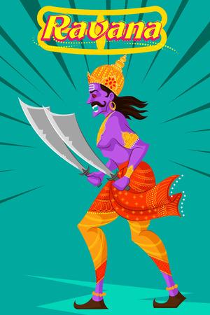 ravana: Indian God Ravana with sword. Vector illustration