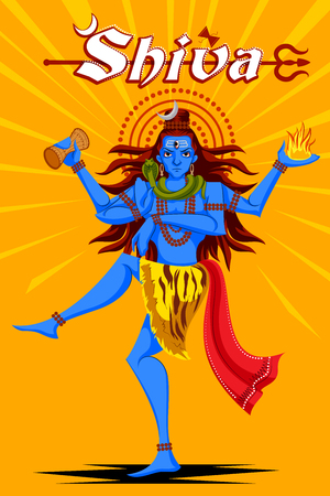 Indian God Shiva dancing in Nataraja pose. Vector illustration