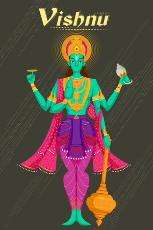 supreme: Indian God Vishnu giving blessing. Vector illustration Illustration