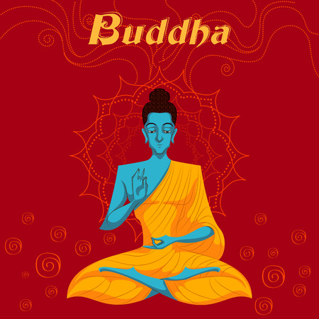 sacred trinity: Indian God Buddha in meditation. Vector illustration Illustration