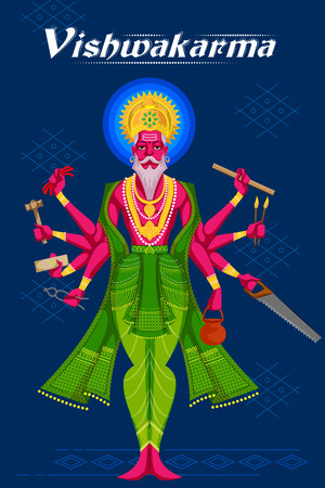 Indian God Vishwakarma with different tools. Vector illustration