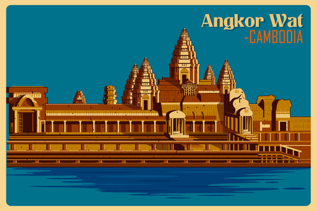 wat: Vintage poster of Angkor Wat, famous monument of Cambodia . Vector illustration