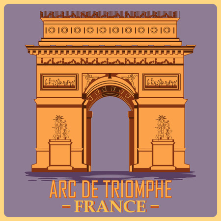 Vintage poster of Arc De Triomphe in Paris, famous monument of France. Vector illustration  イラスト・ベクター素材