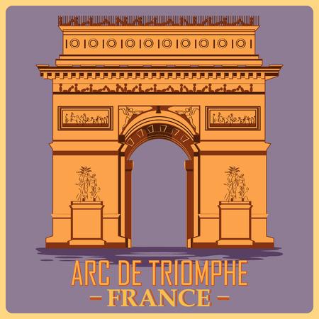 Vintage poster of Arc De Triomphe in Paris, famous monument of France. Vector illustration Stock Illustratie