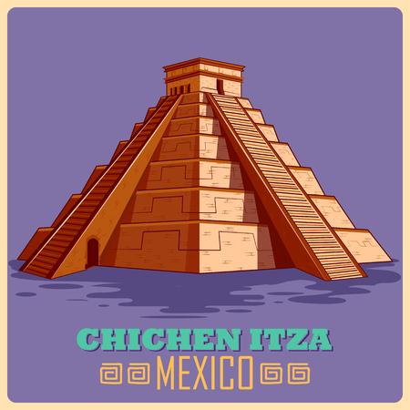 Cartel de la vendimia de Chichén Itzá en maya famoso monumento de México,. ilustración vectorial Foto de archivo - 60498365