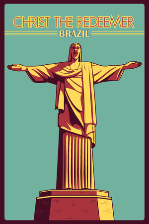 redeemer: Vintage poster of Christ the Redeemer in Rio de Janeiro, famous monument of Brazil. Vector illustration