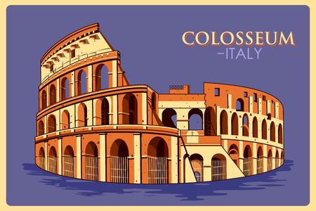 イタリアの有名な記念碑、ローマの Colosseum のビンテージ ポスター。ベクトル図