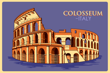 Vintage poster of Colosseum in Roma, famous monument of Italy. Vector illustration
