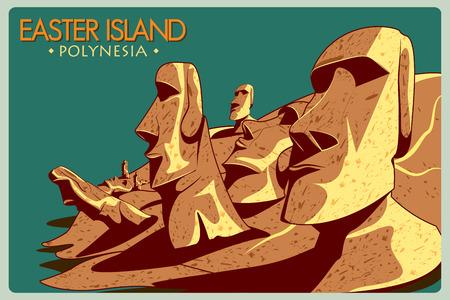rapanui: Cartel de la vendimia de la Isla de Pascua, monumento famoso de Chile. ilustración vectorial