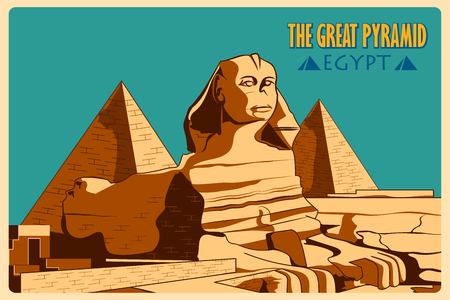 Vintage poster of Sphinx and Pyramids in Giza famous monument of Egypt. Vector illustration Vettoriali