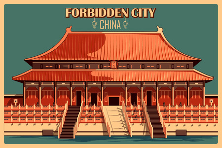 Vintage poster of Forbidden City in Beijing, famous monument of China. Vector illustration