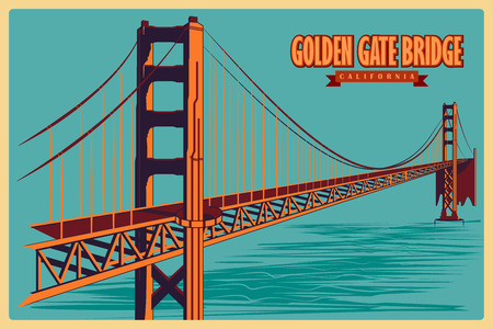 Vintage poster of Golden Gate Bridge in California, famous monument of United States. Vector illustration Ilustração