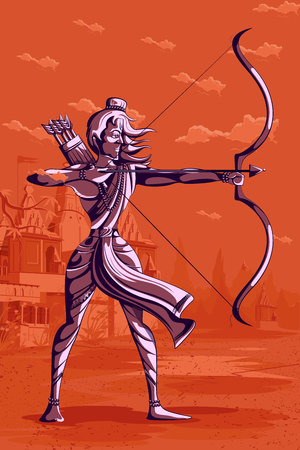 Indian God Rama with bow and arrow. Vector illustration