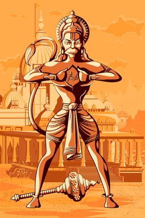 sita: Indian God Hanuman showing Rama and Sita in his chest. Vector illustration