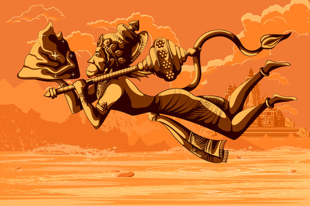 sacred trinity: Indian God Hanuman flying with mountain. Vector illustration Illustration