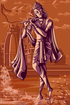 Indian God Krishna playing Bansur (flute). Vector illustration