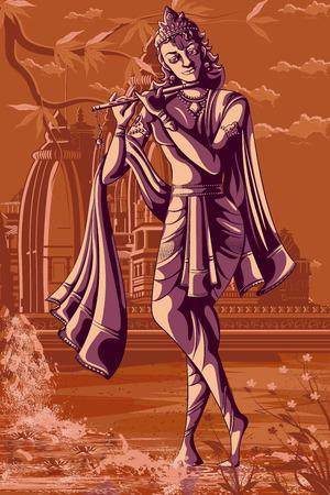 Indian God Krishna playing Bansur (flute). Vector illustration