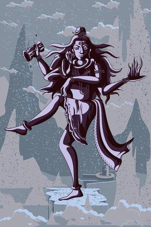 mahadev: Indian God Shiva dancing in Nataraja pose. Vector illustration