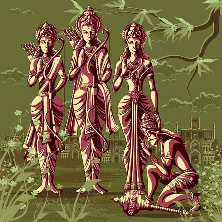 Indian God Rama Laxman and Sita with Hanuman. Vector illustration