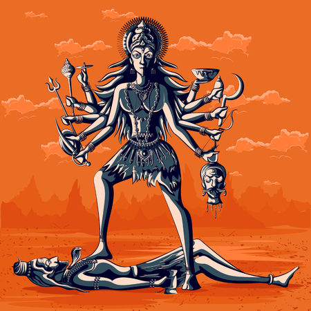 Indian Goddess Kali with Shiva. Vector illustration
