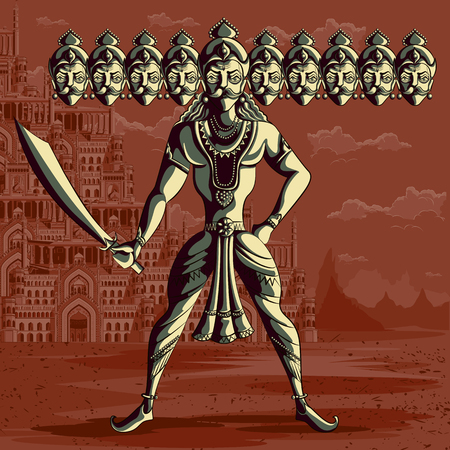Indian God Ravana with sword. Vector illustration