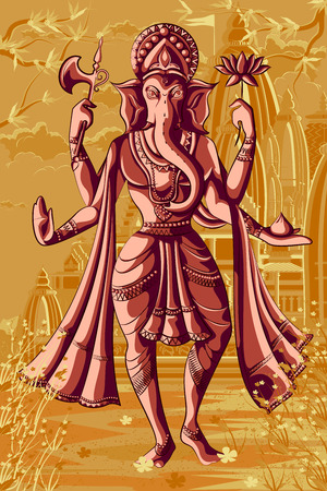 ganpati: Indian God Ganpati in blessing posture. Vector illustration