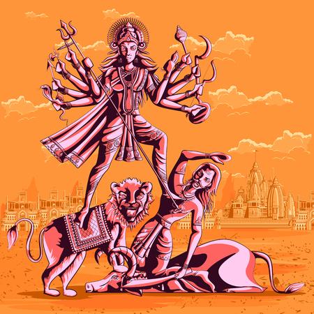 shakti: Indian Goddess Durga killing Mahishasura. Vector illustration