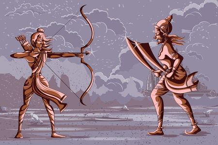 Indian God Rama killing Ravana. Vector illustration