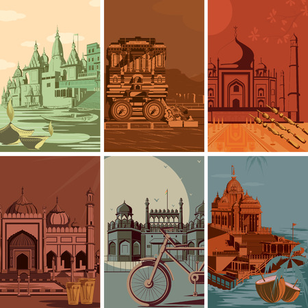 Vintage poster of famous landmark place with heritage monument in India . Vector illustration Çizim